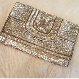 Handbags - Silver Sequin & Beaded Formal Clutch Purse